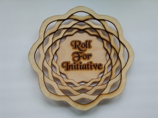 12 inch Dice Tray: Roll For Initiative (Wave Form)