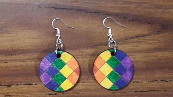 Round Earrings - Crossed Pattern