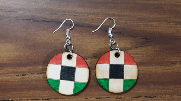 Round Earrings - Checkered Pattern