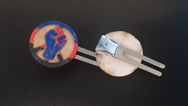 Hair Clip: Peace, Power and Pride theme. Polyamorous