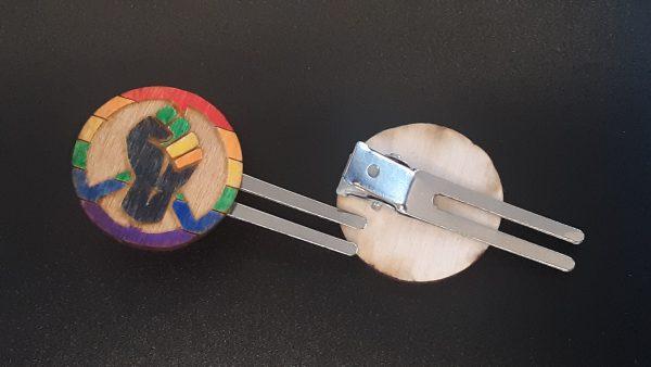 Hair Clip: Peace, Power and Pride theme. Rainbow (Gay)