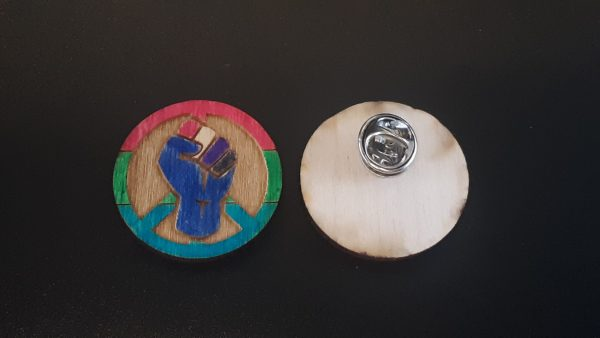 Lapel Pin: Peace, Power and Pride theme. Polysexual
