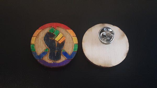 Lapel Pin: Peace, Power and Pride theme. Rainbow (Gay)