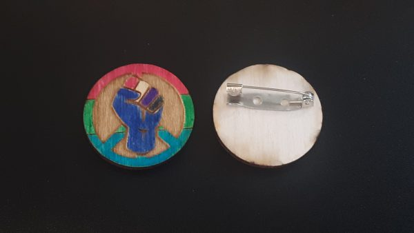 Pin: Peace, Power and Pride theme. Polysexual