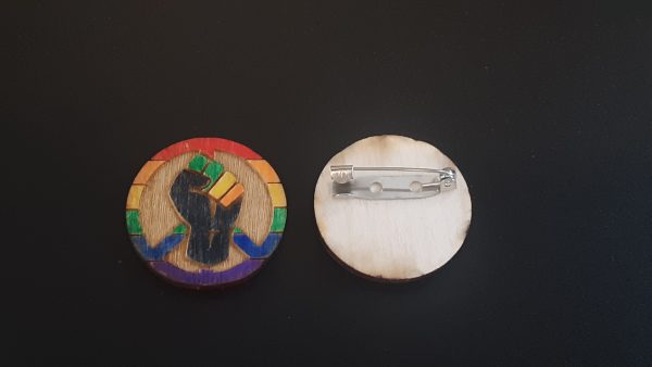 Pin: Peace, Power and Pride theme. Rainbow (Gay)