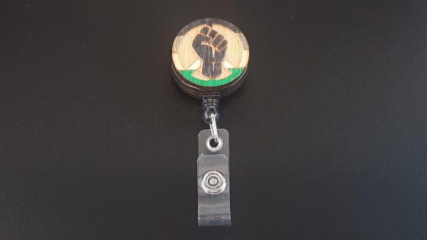 Retractable Badge Holder: Peace, Power and Pride theme. Androphilia