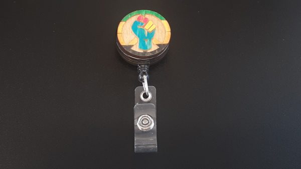 Retractable Badge Holder: Peace, Power and Pride theme. Aromantic