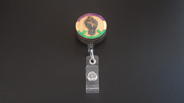 Retractable Badge Holder: Peace, Power and Pride theme. Genderqueer
