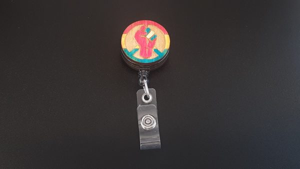 Retractable Badge Holder: Peace, Power and Pride theme. Pansexual