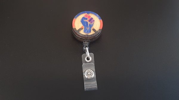 Retractable Badge Holder: Peace, Power and Pride theme. Polyamorous