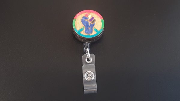 Retractable Badge Holder: Peace, Power and Pride theme. Polysexual