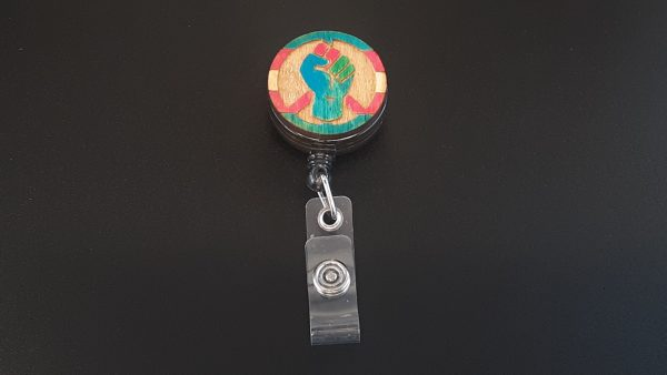 Retractable Badge Holder: Peace, Power and Pride theme. Transexual
